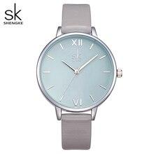 Shengke relógios moda feminina relógio 2020 novo vestido elegante pulseira de couro ultra fino relógio de pulso montre femme reloj mujer