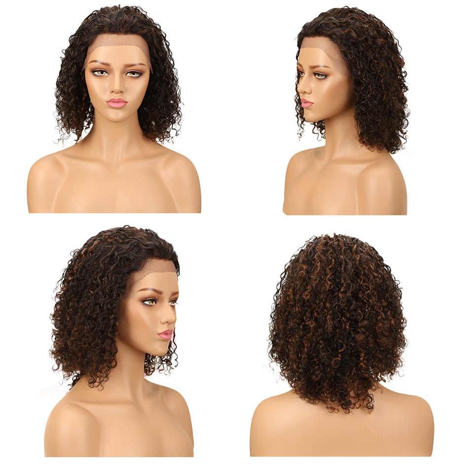 Eleganckie koronkowe peruki z ludzkich włosów dla czarnych kobiet krótkie brazylijskie włosy czerwone koronkowe peruki z częściami Water Wave Curl WigsBob fryzura Pixie Wig
