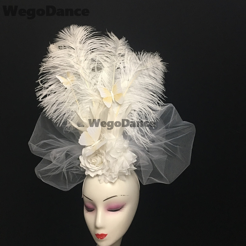 Girl Princess Movie Photo Props Headwear China Ancient Queen Headdress Butterfly Feather Hairband Stage Show Crown