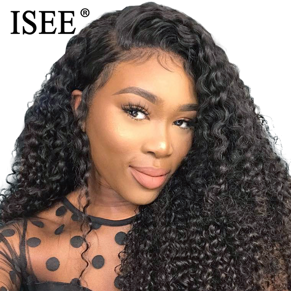 Malaysian Kinky Curly Full Lace Wigs For Women 150% Density Human Hair Wigs Remy ISEE HAIR Curly Full Lace Human Hair Wigs