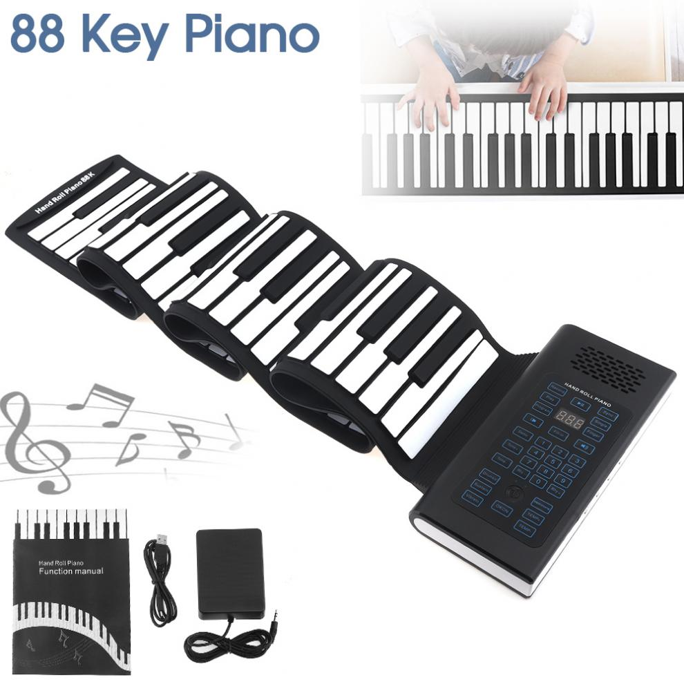 88 Keys USB MIDI Output Roll Up Piano Rechargeable Electronic Portable Silicone Flexible Keyboard Organ Built-in Speaker Hot