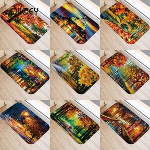 Image 1 - 40*60 センチメートル油絵風景マット非スリップスエードカーペットドアマットキッチンリビングルームのフロアマットベッドルーム装飾フロアマット。