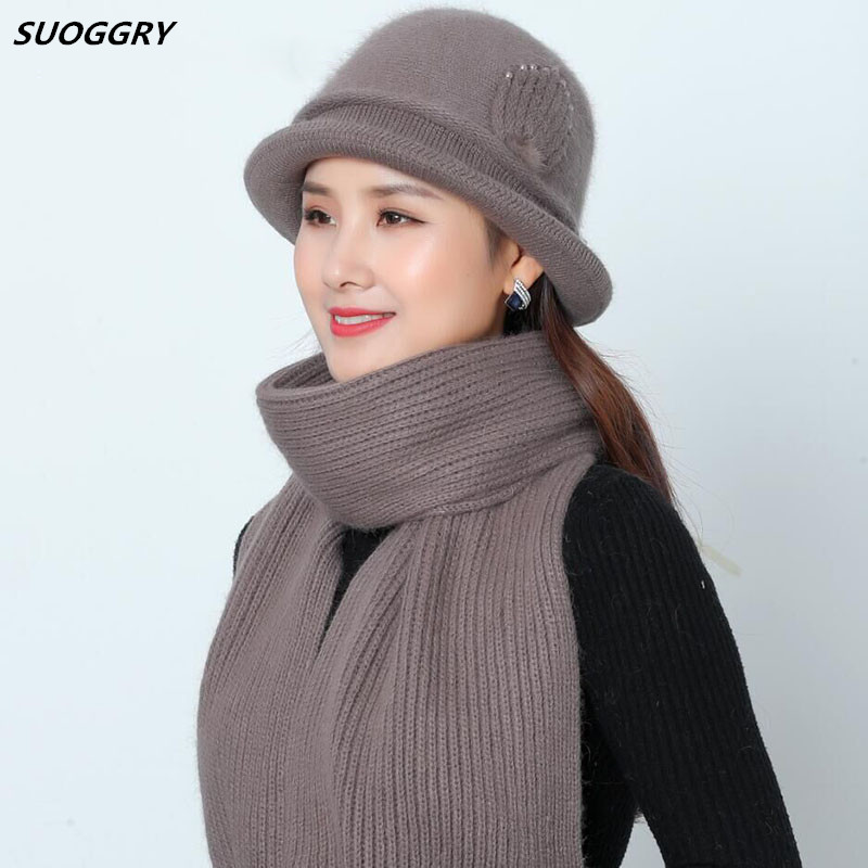 Cashmere Rabbit Fur Hat Scarf Winter Beanie Stretch Hats Women Knitted Slouchy Beanie Hats For Girls Skullies Hat For Female