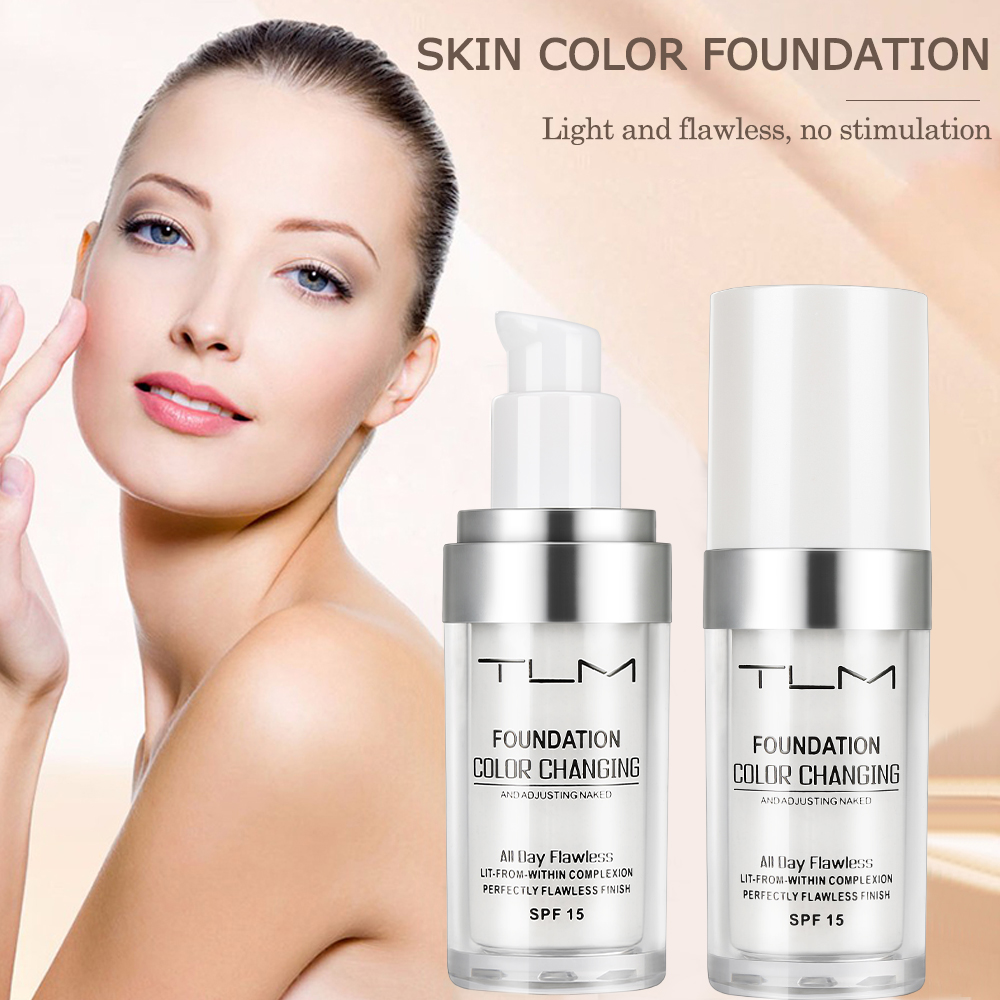 5pcs TLM Foundation Magic Color Changing Foundation Oil-control Makeup Liquid Foundation Hydrating Long Lasting Concealer Cream image