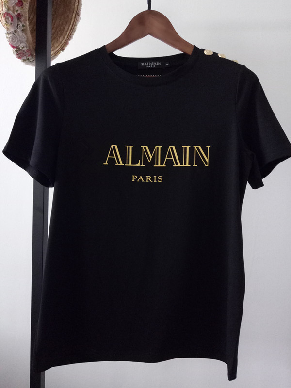Summer Women T shirt Letter Print Cotton Tee Brand Female Shoulder Gold Button Tshirts Casual Loose Solid Tees Tops T-Shirts  - AliExpress