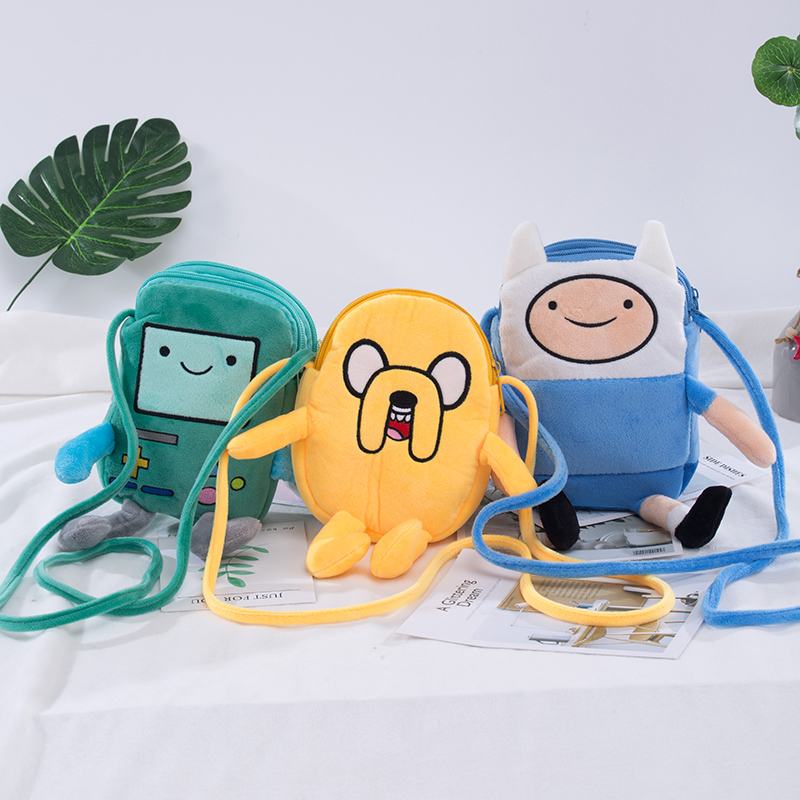 18cm Adventure Time Plush Coin Bag Finn Jake Penguin Gunter Beemo BMO Shoulder School Bag  For Kid Birthday Gift