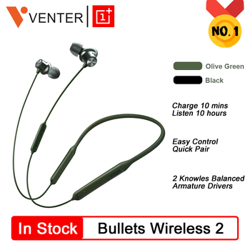 Original OnePlus Bullets 2 Wireless  Earphones AptX Hybrid Magnetic Control Google Assistant Fast Charge For Oneplus 7 Pro