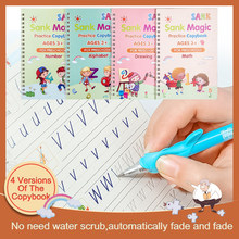 4 Books Reusable Copybook For Calligraphy Learn Alphabet Painting Arithmetic Math Children Kids Handwriting Practice Letter Toys