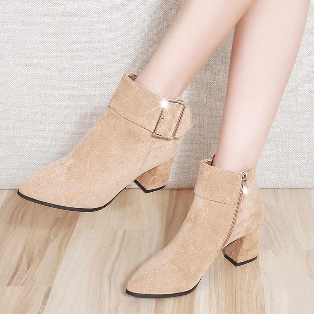 Sagace Giày Nữ 2019 Giày Nữ Nữ Vintage Mắt Cá Chân Giày Cho Nữ Dây Kéo Mũi Nhọn Thường Đơn Ngắn Giày nữ