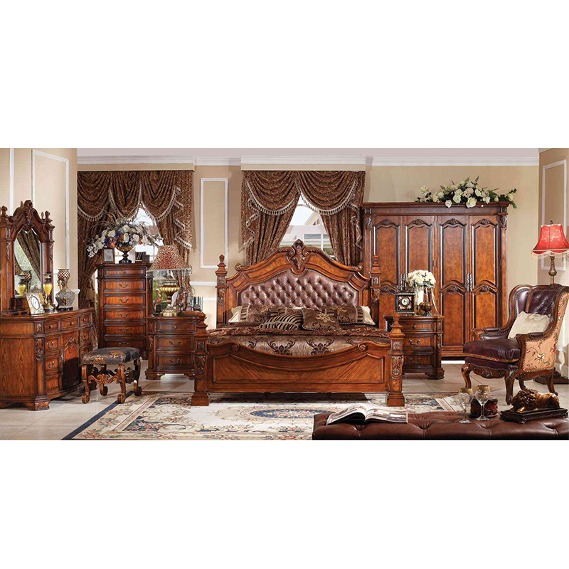 Bed room furniture of leather king size bed luxury bedroom furniture set Мебель для спальни GH09