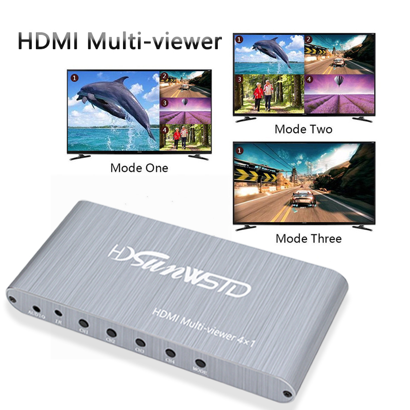 HDMI Multi Viewer Quad Screen 4 Input 1 Output 4×1 Mulit-viewer Switcher Video Converter For TV PC Laptop Projector