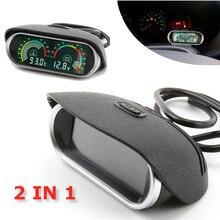 2 в 1 12 В/24 В ЖК-дисплей Автомобильный цифровой горизонтальный датчик температуры воды Датчик Вольтметр напряжения с датчиком температуры