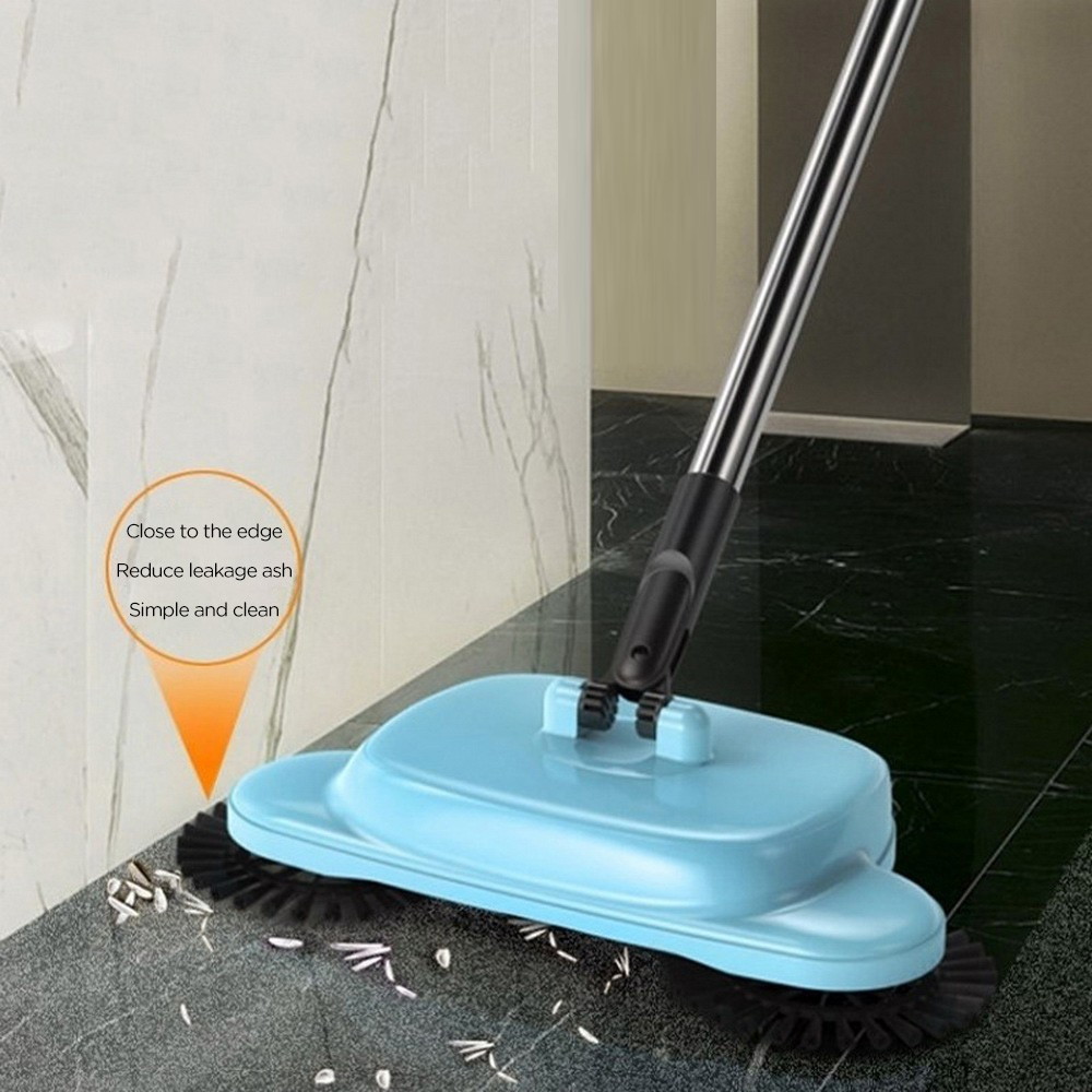 Stainless Steel Sweeping Machine Hand Push Magic Broom Dustpan Handle Household Cleaning Package Hand Sweeper mop and dustpan title=
