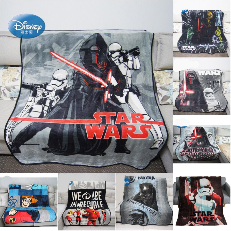 Disney Grey Black Star Wars Black Panther Coral Fleece Blanket Throw For Boys BedSpread Bedroom Decor 120x150cm Birthday Gift
