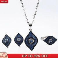 new pop fashion s925 sterling silver women's jewelry suit Turkish blue eyed devil's eye jewelry