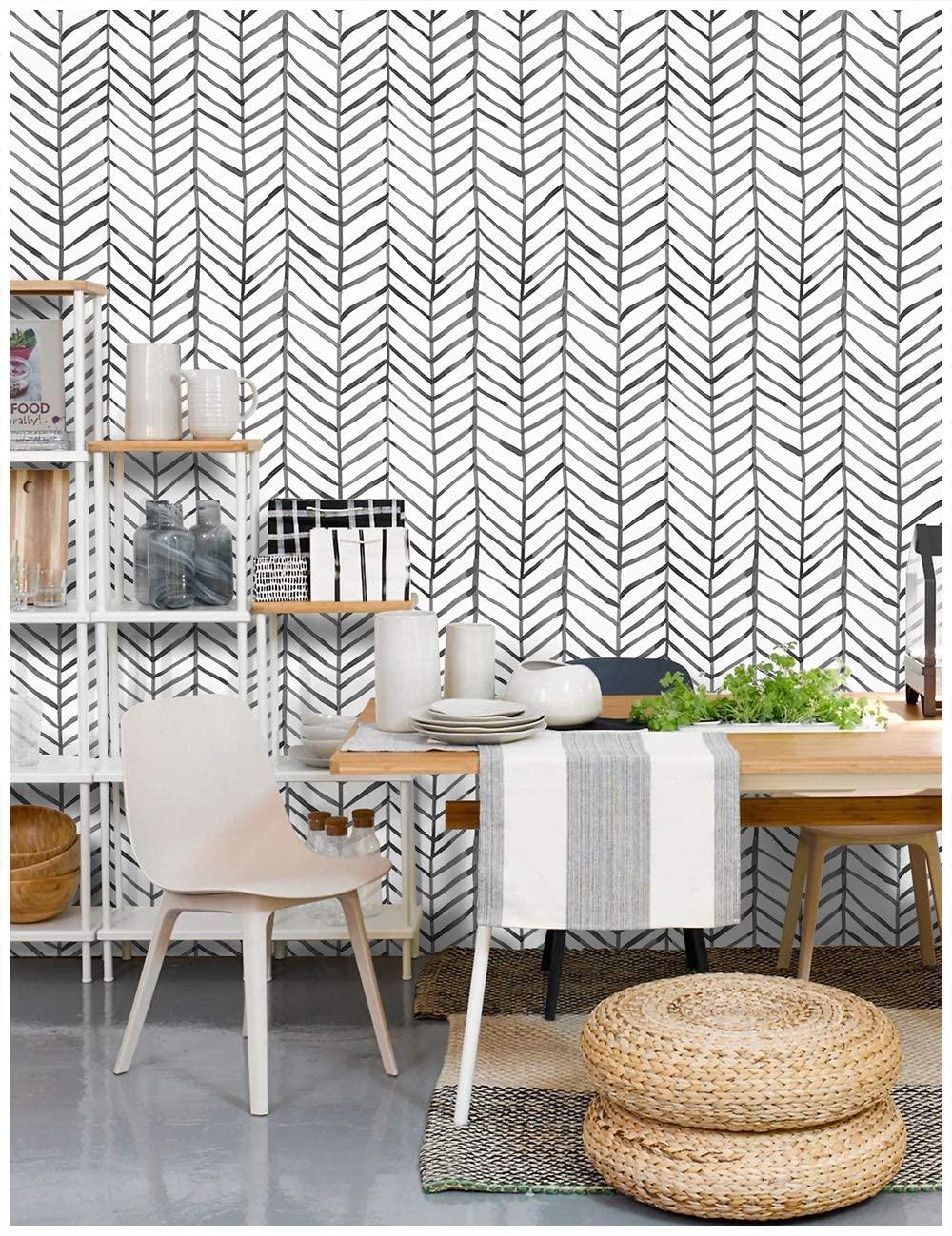 Wokhome Peel And Stick Wallpaper Modern Stripe Contact Paper Herringbone Black White Vinyl Self Adhesive Wall Papers Decorative Wallpapers Aliexpress