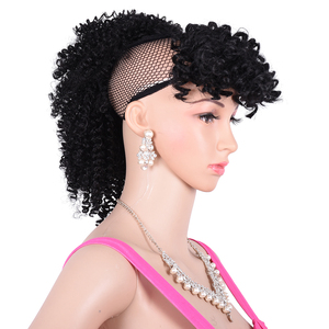 Image 5 - Drawstring Afro Puff Kinky Curly Ponytail Wig Synthetic Hair Bun and Bang Set  For Women Pony Tail Clip in Hair Extension