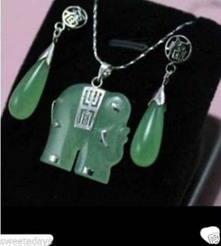 משלוח חינם >>@> ירוק ירקן פיל תכשיטי שרשרת תליון עגיל סט ^^^@^ 18K GP סגנון בסדר jewe אצילי טבעי ירקן N