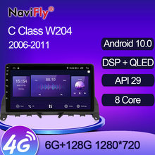 NaviFly 6GB + 128GB 8 Core QLED 1280*720 Carplay Android 10,0 Auto GPS Radio Player Für mercedes Benz C Klasse 3 W204 S204 2006 2011