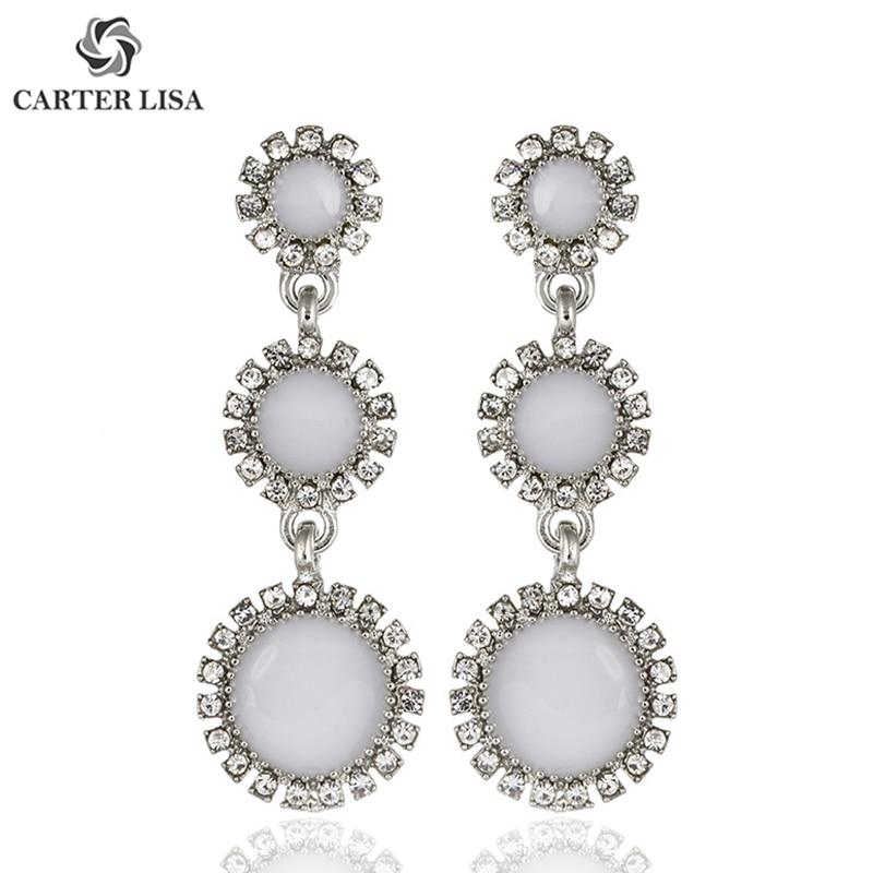 CARTER LISA 2019 Fashion Long Earrings Tassel Black/White 2 Colors Stud Round Crystal Earrings For Women Girls Jewelry Bijoux