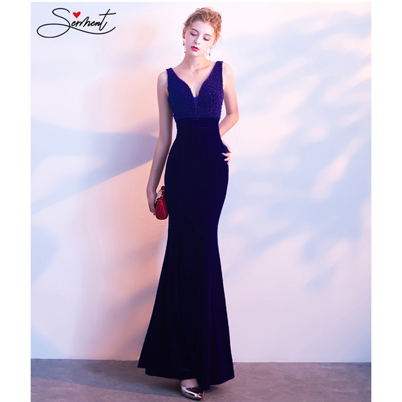 OLLYMURS Elegant Mermaid Vintage Evening Dress Crystal Beading Chiffion V-neck Suitable Party Cocktail Club Nightclub Occasions