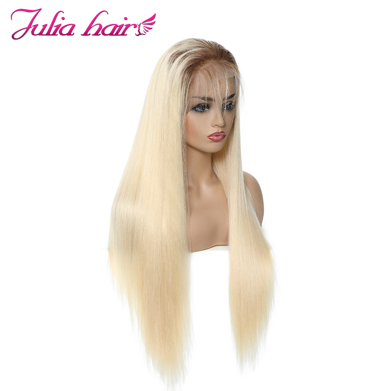 Ali Julia Hair #T4/613 360 Transparent Lace Front Human Hair Wigs Brazilian Straight Hair Remy Human Hair Wig