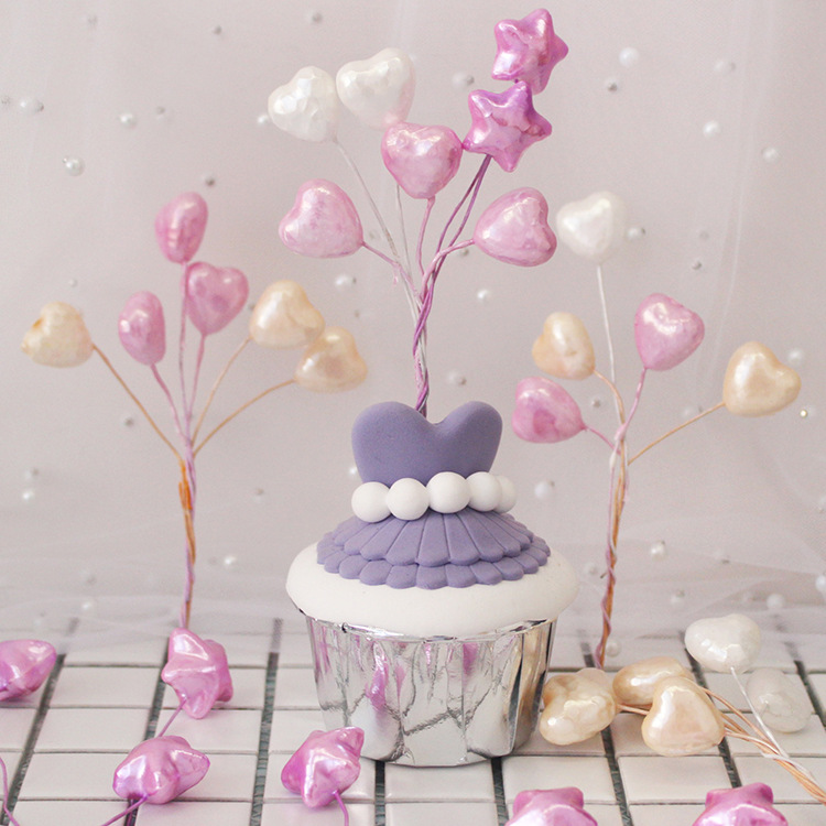 10pcs Pearl Color Wedding Dessert Table Decoration Toys For Children Small Balloon Love Star Cake Bowler Plug Birthday Party Toy