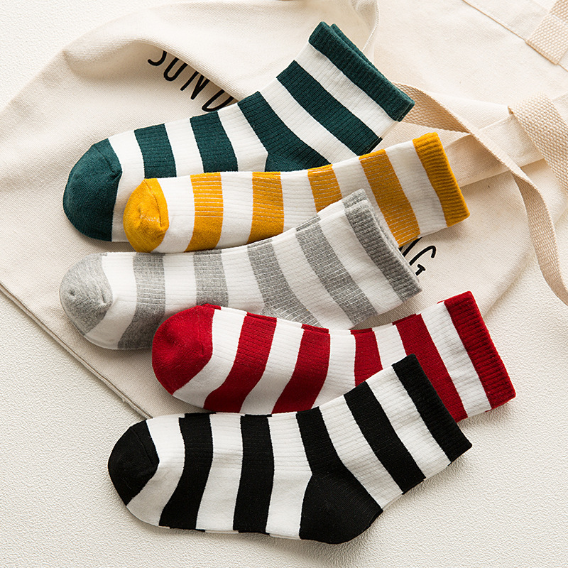 Korean Style Socks Woman Spring Autumn Kawaii Fashion Stripe Cotton Japanese Harajuku Short Sock for Girls, Woman Clothing