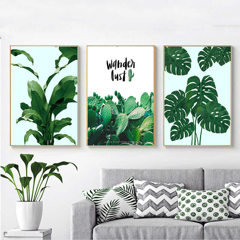 Fresh Green Cactus Big Tropical Leaves Wall Art Canvas Painting Plants Nordic Posters And Prints Wall Pictures For Living Room Painting Calligraphy Aliexpress Monstera ii canvas wall art by sisi & seb. fresh green cactus big tropical leaves wall art canvas painting plants nordic posters and prints wall pictures for living room