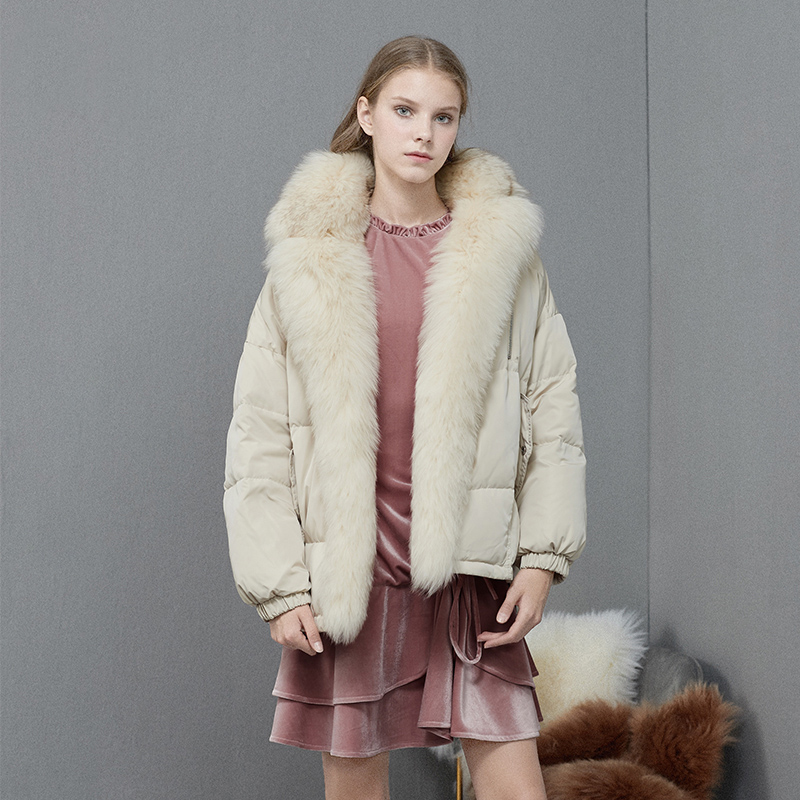 Large Natural Fox Fur Jacket 2019 Winter 90% White Duck   Down     Coat   Short Loose Pink   Down   Parka Ladies Thick Warm Snow Outwear