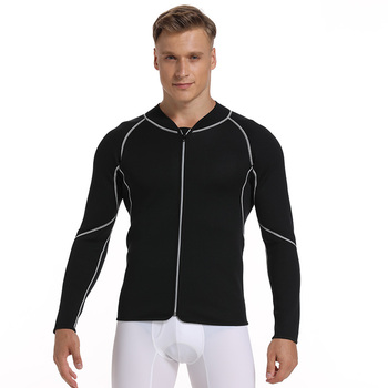 Men Sweat Neoprene Weight Loss Sauna Suit Workout Shirt Body Shaper Fitness Jacket Gym Top Clothes Shapewear Long Sleeve heavy duty fitness weight loss sweat sauna suit exercise gym anti rip black