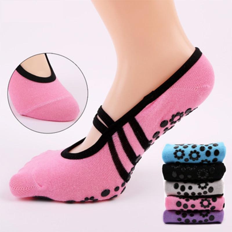 Women Sports Fitness Yoga Pilates Ballet Socks Ventilation Dance Sock Anti Slip Cycling Socks Bandage Cotton Sports Yoga Socks