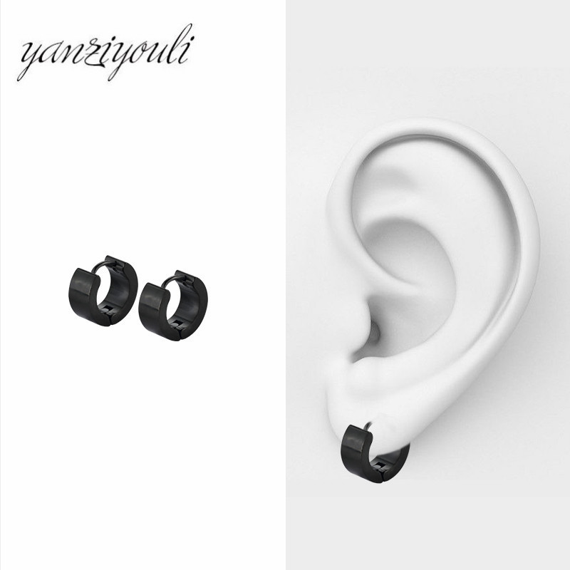 H728994770c66492bbf053bae9ae9b7301 - Fashion Gothic Punk 1 Pair Stainless Steel Mens wide glossy Stud Earrings Jewelry Black Earrings Ears Buckle