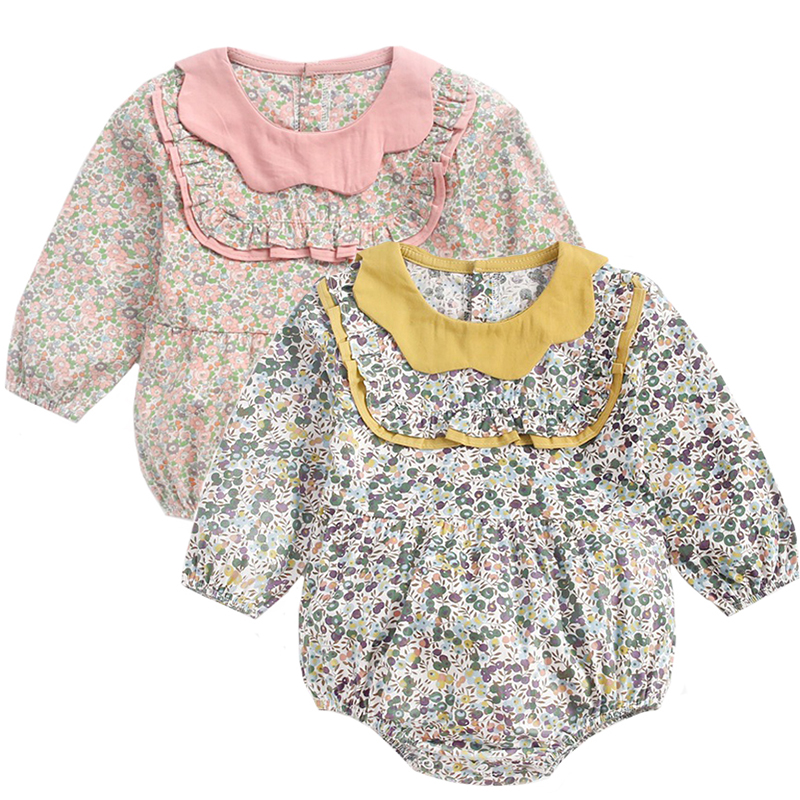 Baby Girl Clothes Twins Baby Vintage Floral Jumpsuit Clothing Newborn Clothes Bodysuit Kids Cotton Outfit Clothing