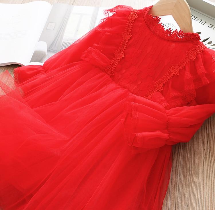 Кружевное платье для девочек; платье принцессы для маленьких девочек; коллекция года; сезон весна - Color: Red