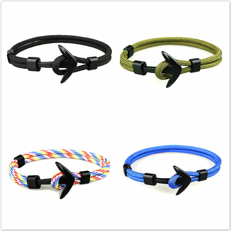 2019 1 Pcs Sell Fashion Hologram Bracelets Black Color Anchor Men Survival Rope Chain Bracelet Male Wrap Metal Sport Hooks