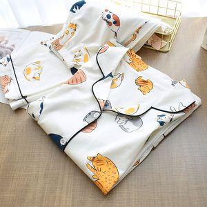 Image 5 - Ensemble pyjama à col rabattu pour femme, collection 2020, vêtements de maison femme, Style chat de dessin animé, frais, collection vêtements de nuit de Style, printemps décontracté