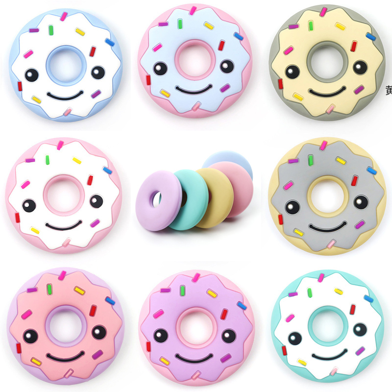 DIY Baby Donut Silicone Teether Teething Chew Toy Infant Teether Beads Necklace Nursing Tool Pendant Food Grade Silicone Teether
