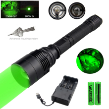 10000 Lumens Zoomable T6 LED Military Tactical Hunting Weapon Flashlight Green Rifle Gun Light Airsoft Element+2*18650+Charger