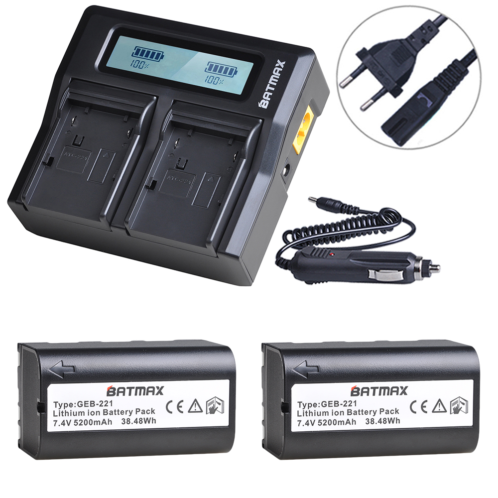 2Pcs 7.4V 5200mAh GEB221 Battery + Rapid LCD Charger for TPS1200 total Station and GPS|Digital Batteries| |  - title=