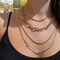 Punk Rock Multilayer Gold Link Kette Schlüsselbein Halskette für Frauen Vintage Kubanischen Kette Choker Halsketten Trendy Schmuck Geschenk