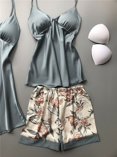 BZEL 새 여자의 가운 세트 새틴 실크 가운 4 조각 세트 잠 옷 정장 숙 녀 캐주얼 Homewear Loungewear 패션 목욕 가운 M-XL