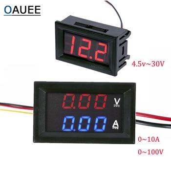 цена на DC 100V 10A Voltmeter Ammeter Blue Red LED Amp Dual Digital Volt Meter Gauge 4.5V to 30V Voltmeter Voltage Meter Dropshipping