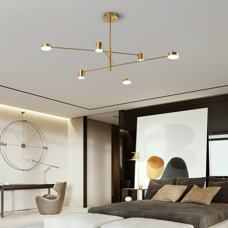 Luxo moderno pingente de ouro luzes led nordic criativo loft ferro pendurado lâmpada para restaurante sala estar quarto barra interior deco - 4