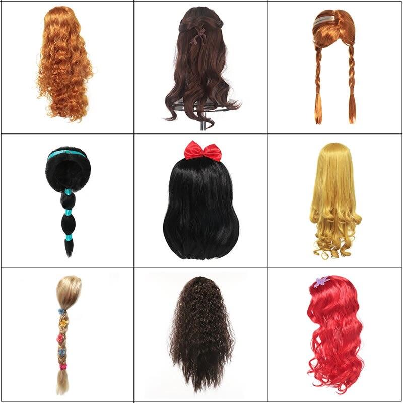 Meninas pequena sereia peruca vermelha princesa crianças elsa anna aurora cosplay emaranhado trança jasmine moana unicórnio cabelo para festa