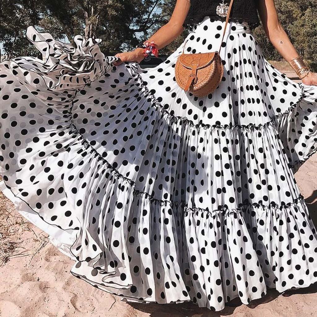 Женская многослойная юбка в горошек, длинная Плиссированная пляжная юбка с завышенной талией, лето 2020