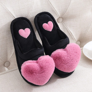 Fashion Slippers Ladies Plush Flat with Non-slip Woman Slipper 2020 Comfortable Cute Indoor Warm Winter Love Heart Cotton Flock