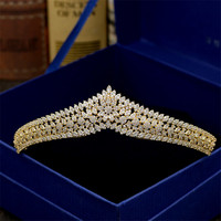 Sparkling Gold Brides Tiaras Crowns Full Zircon Crystal Hairbands Wedding Hair Accessories Bridal Tiara Diademas De Novia