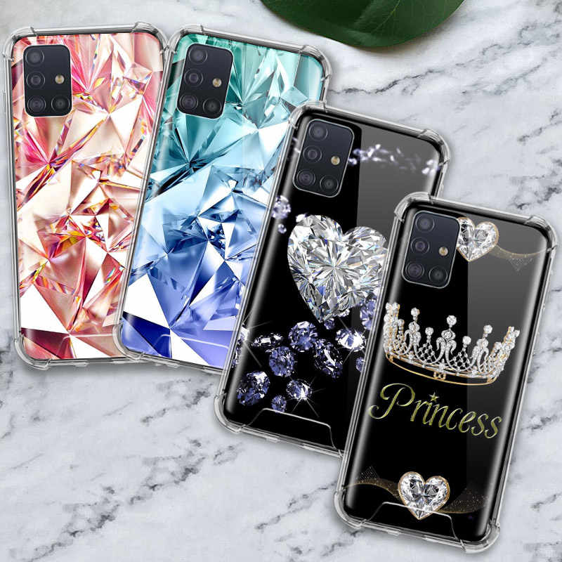 Crystal Cool Diamant Case Voor Samsung Galaxy A71 A51 M31 A41 A31 A21 A11 A01 M51 M21 M11 Airbag Anti behuizing Telefoon Covers