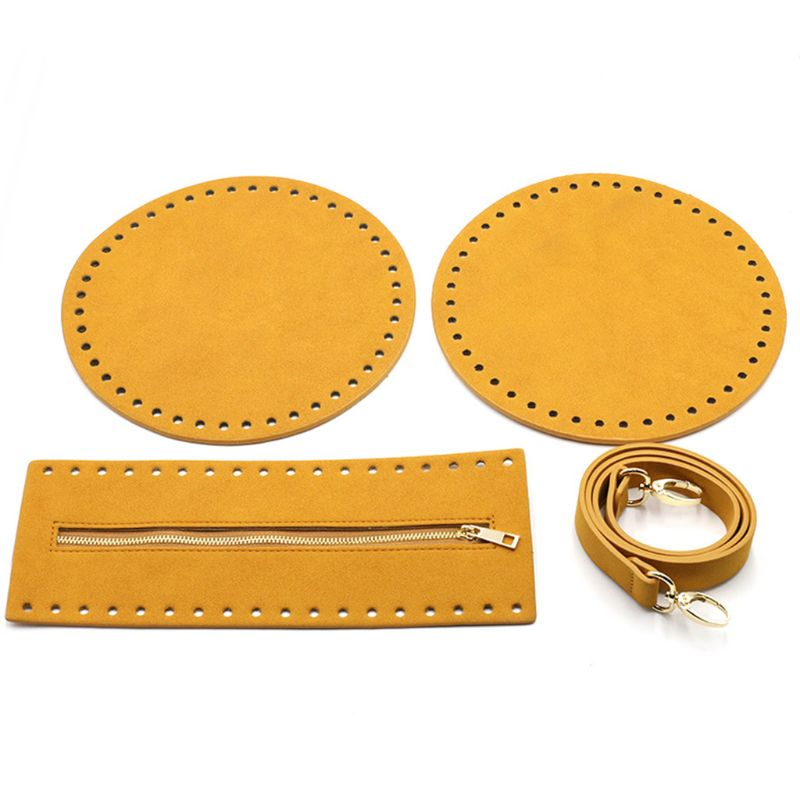 4Pcs/Set Bag Bottom Base Round Faux Leather Strap Zipper for DIY Crochet Handbag X7XC